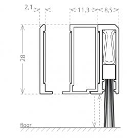 Pivot Door Brush Seal & Spacer - 830mm - SS Effect