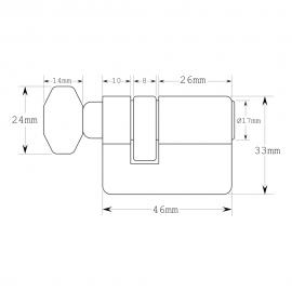 Short Thumb Turn  Europrofile Cylinder - Key Differ