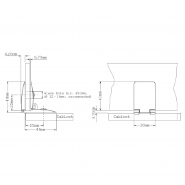 Universal Glass Cabinet Hinge For 4 - 6.76mm Thick Glass