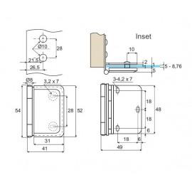 Inset Drilled Glass Door Hinges 12 Kg Pr - Polished Chrome