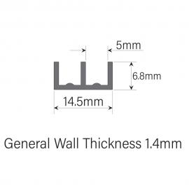 4mm Plastic Sliding Track - Bottom -  Black - 1.83 Metres