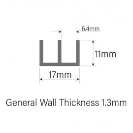 6mm Plastic Sliding Track - Top - Black - 1.83 Metres
