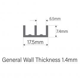 6mm Plastic Sliding Track - Bottom - Black - 1.83 Metres