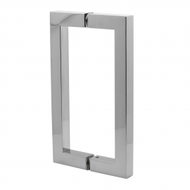 150mm Door Handle 19mm Square Tube  Brushed Stainless