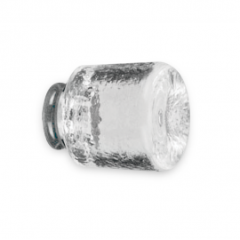 38mm x 38mm Glass Shower Knob - On Polished Chrome