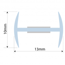 Clear PVC H Section - 10mm Glass - 180 degree