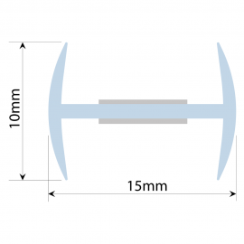 Clear PVC H Section - 12mm Glass - 180 degree