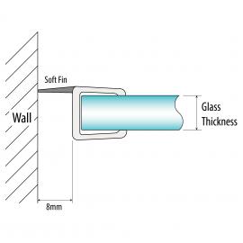 H Jamb Seal - 8mm Glass - 8mm Soft Fin