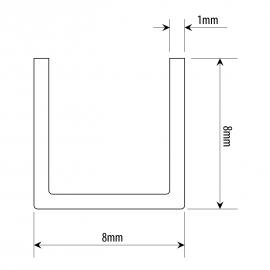 8mm X 8mm U Channel - Anodised Aluminium - 6mm Groov