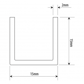 15mm X 15mm U Channel - Ground Stainless Steel - 11mm Groove