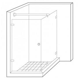 Wall to Glass Reinforcement Bar Kit - Polished Chrome
