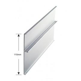 Aluminium Track Cover - 110mm - Satin Aluminium